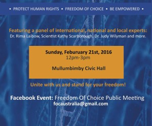 Freedom Of Choice Public Meeting With Special Guest, Dr Rima Laibow Via Skype
