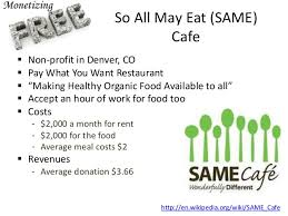 SAME Cafe Offers Organic Meals. Those who can pay, do. Those who cannot help.  Totally Different!