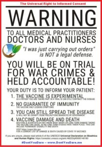 A Warning to Doctors and Health Care Workers