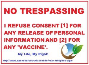 No Vaxx Trespass Sign