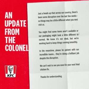"""""""KFC Crisis"""" Unfolds Across UK As Shortage Of Menu Items Forces People To Call Police"""